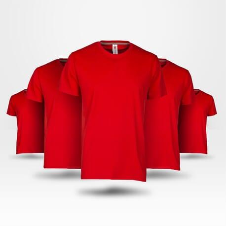 Pack de 5 tee-shirt économique rouge